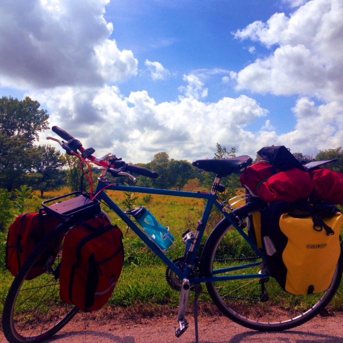Nearly fully loaded touring bike